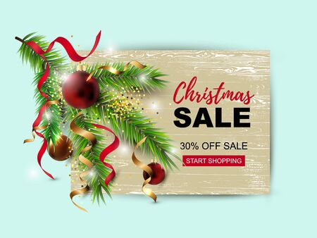 Christmas sale banner with new year tree branch, red and golden balls on wood background. Great for christmas fair, Happy New Year card, invites, flyer, greetings. Place for text. Vector illustration.
