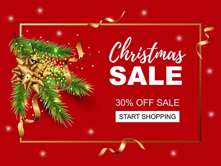 Christmas sale banner with new year tree branch, golden confetti. Great for christmas fair, Happy New Year card, poster, invitation, flyer, greetings. Place for text. Vector illustration.
