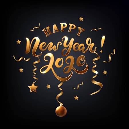 Happy New Year 2020 card. Hand drawn lettering with golden confetti and stars on black background. Vector illustration EPS 10 file. Illusztráció