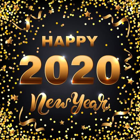 Happy New Year 2020 card with golden confetti on black background. Hand drawn lettering New Year. Vector illustration EPS 10 file.