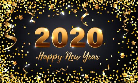 Happy New Year 2020 card with golden confetti on black background. Vector illustration EPS 10 file.