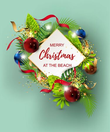 Merry Christmas at the beach with exotic tropical leaves, festive balls, golden confetti. Great for greeting card, Happy New Year party in Hawaiin style, flyer, poster. Place for text. Vector.