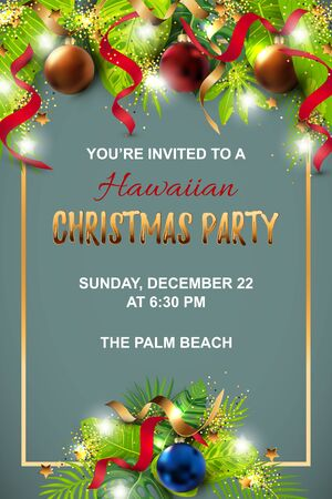 Hawaiian Christmas party invitation with exotic tropical leaves, festive balls, golden confetti. Great for greeting card, Happy New Year party at the beach, flyer, poster. Place for text. Vector ESP10