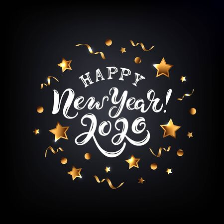 Happy New Year 2020 card. Handwritten lettering with golden confetti and stars on black background. Vector illustration EPS 10 file. Illustration