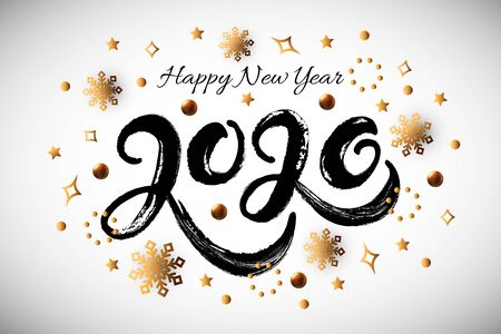 Happy New Year 2020 card. Handwritten lettering 2020 with golden confetti and snowflakes on white background. Vector illustration EPS 10 file. 일러스트