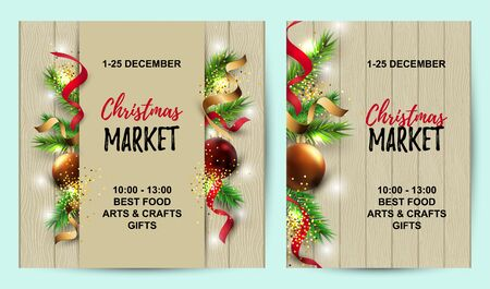 Merry Christmas, Happy New Year cards set with new year tree, red and golden balls on wood background. Great for invites, sale, greetings, christmas market, flyer. Place for text. Vector illustration