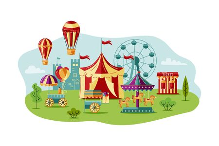 Amusment park with circus tent, carousel, castle, big whell, air ballon. Great for carnival, theme park, circus, funfair. Vector illustration for invites poster ticket
