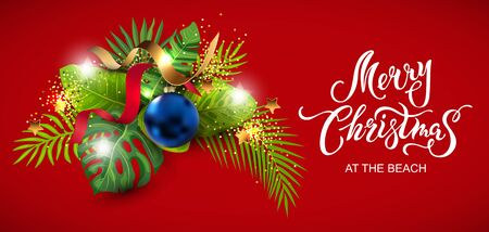 Lettering Merry Christmas at the beach with exotic tropical leaves, festive balls, golden confetti. Great for greeting card, Happy New Year party in Hawaiin style, flyer, web. Place for text. Vector. Illusztráció