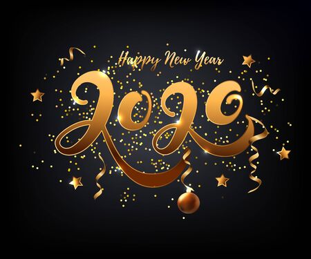 Happy New Year 2020 card. Hand drawn lettering 2020 with golden confetti and chrismas ball on black background. Vector illustration EPS 10 file.