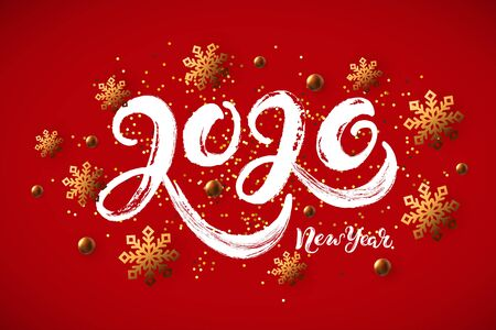 2020 New Year handwritten lettering with golden confetti and snowflakes on red background. Vector illustration EPS 10 file.