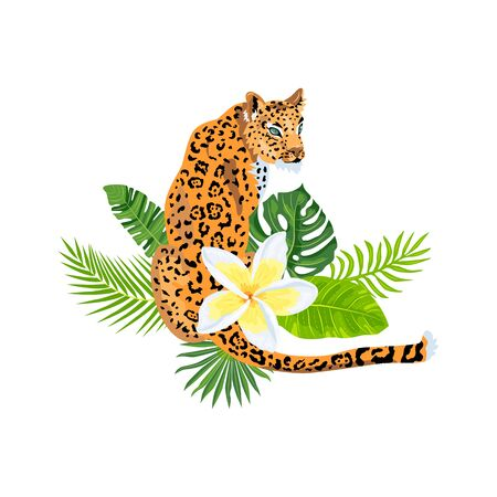 Leopard, jaguar with tropical leaves, plumeria, exotic flower. Design for flyer, poster, t-shirt print, invites, sticker. Vector illustration on white background Illusztráció