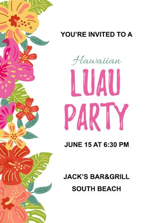 Jungle flowers and exotic leaves. Hawaiian Luau party invitation vector illustration. Hand drawn sketch style. Place for text. Seasonal template for vacation, poster, banner, flyer. Flat style design.