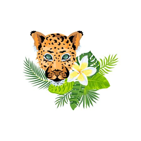 Leopard face with tropical leaves, plumeria exotic flower. Design for flyer, poster, t-shirt print, invites, sticker, pattern, ecological concept. Vector illustration on white background.