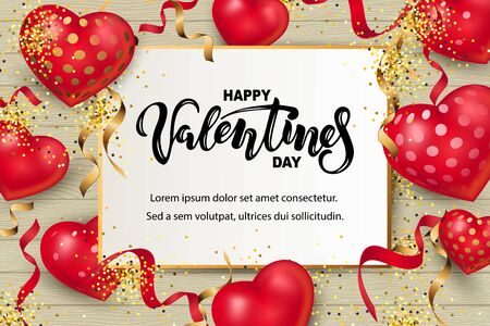 Handwritten lettering Happy Valentine day with hearts. Place for text. Vector illustration for Happy Mothers, Valentines, Womens day, greeting card, wedding.