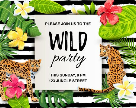 Leopards with tropical leaves, flowers, wild party invitation. Place for text. Vector illustration for flyer, birthday, tropical party, banner.
