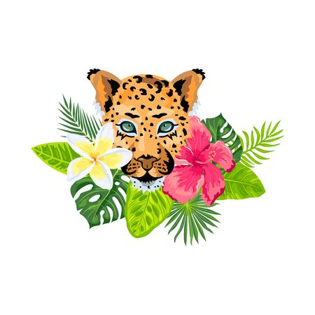 Leopard face with tropical leaves, plumeria, hibiscus. Design for flyer, poster, t-shirt print, invites, sticker, pattern. Vector illustration on white background