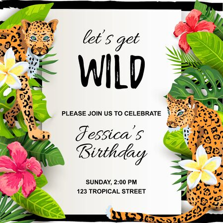 Leopards with tropical leaves, flowers, wild party invitation. Place for text. Vector illustration for flyer, birthday, tropical party, banner, poster