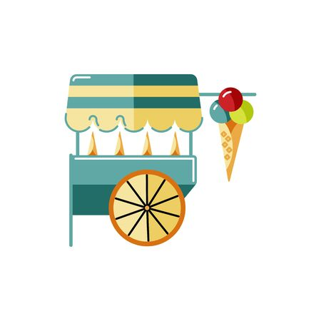 Ice cream food kiosk vector illustration on white background. Flat and line style design.