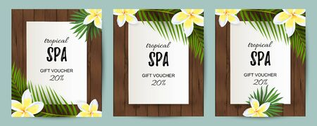 Tropical backdrop with exotic leaves, flower. Spa flyers set. Place for text. Great for party invitation, wedding, bridal shower, aroma, health care, cosmetics, touristic concept. Vector illustration
