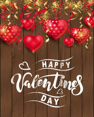 Handwritten lettering Happy Valentine day with hearts on dark wood background. Place for text. Vector illustration for Happy Mothers, Valentines, Womens day, greeting card, wedding. 일러스트