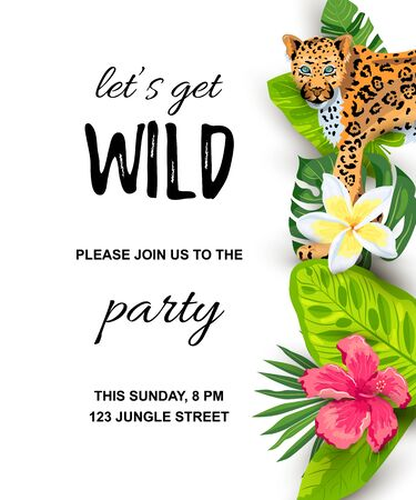 Leopard with tropical leaves, flowers, wild party invitation. Place for text. Vector illustration for flyer, birthday, tropical party, banner. 일러스트