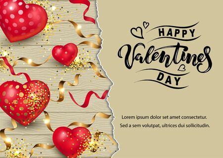 Handwritten lettering Happy Valentine day with hearts on wood background. Place for text. Vector illustration for Happy Mothers, Valentines, Womens day, greeting card, wedding. 일러스트