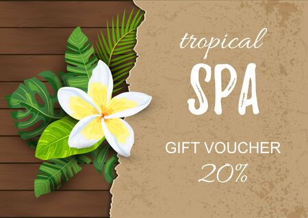 Tropical backdrop with exotic leaves, flower. Place for text. Great for spa flyer, jungle party invitation, wedding, bridal shower, aroma, health care, cosmetics. Vector illustration