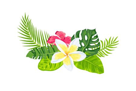 Tropical exotic leaves, hibiscus, plumeria flowers, vector illustration isolated on white background. Design element for poster, web, flyers, invitation, postcard, t-shirt SPA sticker