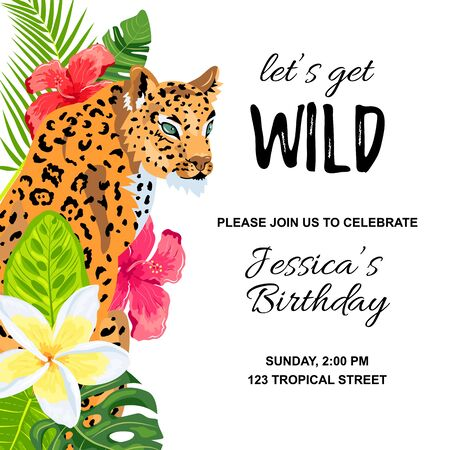 Leopard with tropical leaves, flowers, wild party invitation. Place for text. Vector illustration for flyer, birthday, tropical party, banner, poster 일러스트