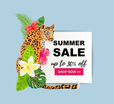 Summer sale with leopard, tropical leaves, flowers. Place for text. Template for poster, web, party invitation, flyer. Vector illustration
