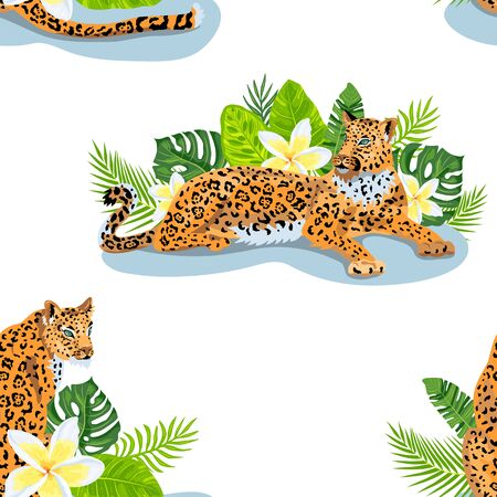 Leopards with jungle leaves, tropical flowers seamless pattern. Vector illustration.