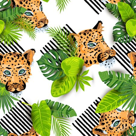 Leopard faces with tropical leaves seamless pattern. Vector illustration. 일러스트