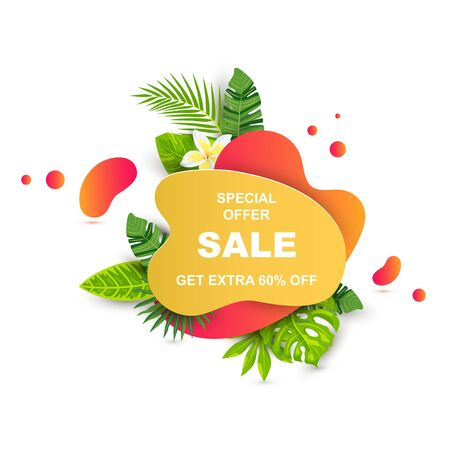 Summer sale banner with tropical leaves, flower plumeria. Place for text. Template for poster, web, invitation, flyer. Vector illustration.