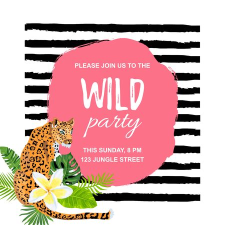 Leopard with tropical leaves, flower plumeria, wild party invitation. Place for text. Vector illustration for flyer, birthday, tropical party, banner, poster. 일러스트