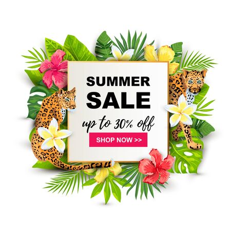 Summer sale with leopards, tropical leaves, flowers. Place for text. Template for poster, web, party invitation, flyer. Vector illustration