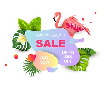 Summer sale banner with tropical leaves, flower plumeria, flamingo, liquid geometric shape. Place for text. Template for poster, web, invitation, flyer. Vector illustration.