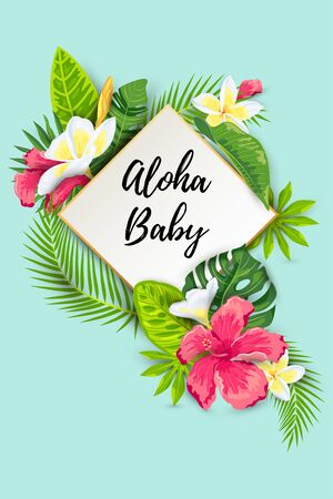 Tropical leaves, Hibiscus and Frangipani flowers vector illustration. Place for text. Seasonal template for summer sale, vacation, poster, banner, flyer, invitation, pool party, baby shower wedding 일러스트