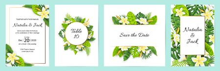 Invitations with jungle leaves, tropical flower Frangipani. Vector illustration summer templates. Place for text. Great for SPA flyer, beauty offer, wedding, poster, baby shower, bridal shower. 일러스트