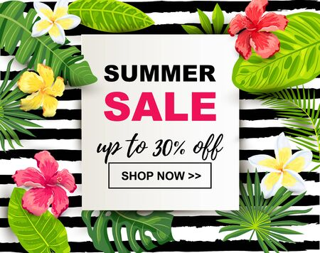 Summer sale with tropical leaves and flowers. Place for text. Backdrop for poster, web, party invitation, flyer, banner. Vector illustration.