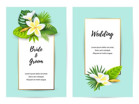 Invitations with jungle leaves, tropical flower Frangipani. Vector illustration summer templates. Place for text. Great for SPA flyer, beauty offer, wedding, poster, baby shower, bridal shower, party.