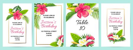 Invitations with tropical flowers, jungle leaves. Vector illustration summer templates. Place for text. Great for wedding, SPA flyer, beauty offer, poster, baby shower, bridal shower, tropical party. 일러스트