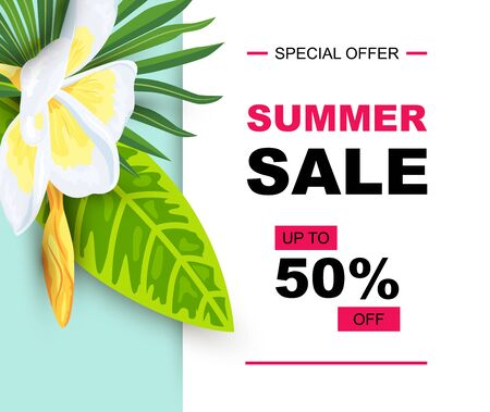 Summer sale with tropical leaves and plumeria flower. Place for text. Backdrop for poster, web, party invitation, SPA flyer, banner, beauty offer, bridal shower. Vector illustration.