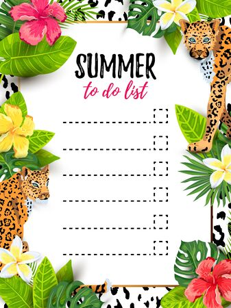 Leopards with tropical leaves and flowers. To do list. Place for text. Vector illustration for flyer, birthday, tropical party, banner, poster.