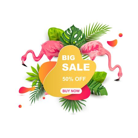 Summer sale banner with tropical leaves, flower plumeria, flamingos, liquid geometric shape. Place for text. Template for poster, web, invitation, flyer. Vector illustration.