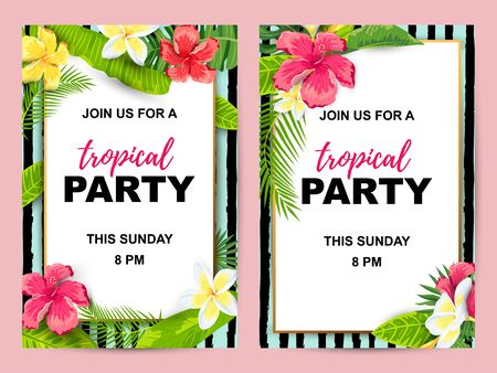 Summer background with jungle leaves and flowers. Tropical party invitation set. Place for text. Great for flyer, baby shower invitation, wedding, poster.