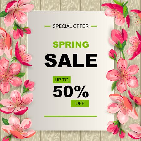 Spring sale banner with cherry, sakura blossom. Place for text. Template for poster, web, invitation, flyer, Mothers and Womens day. Ilustrace