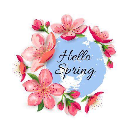 Hallo Frühling mit Blüte Sakura, Kirschblüten. Platz für Text. Ideal für Frühlingsverkauf, orientalisches Ivite, Flyer, Schönheitsangebot, Hochzeit, Brautparty, Poster, Babyparty, Mutter- und Frauentag.