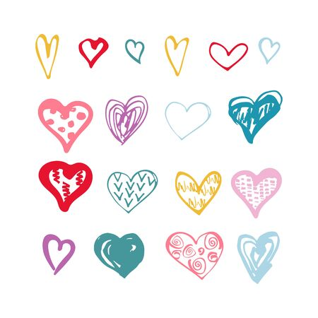 Hand drawn sketch style hearts shape set isolated on white background. Vector illustration.