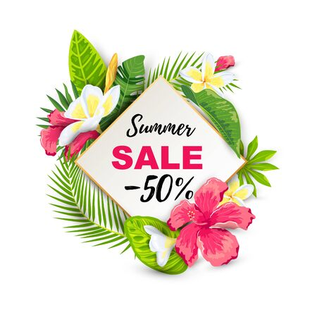 Summer sale with tropical leaves and flowers. Place for text. Backdrop for poster, web, party invitation, SPA flyer, banner, beauty offer, bridal shower. Vector illustration.