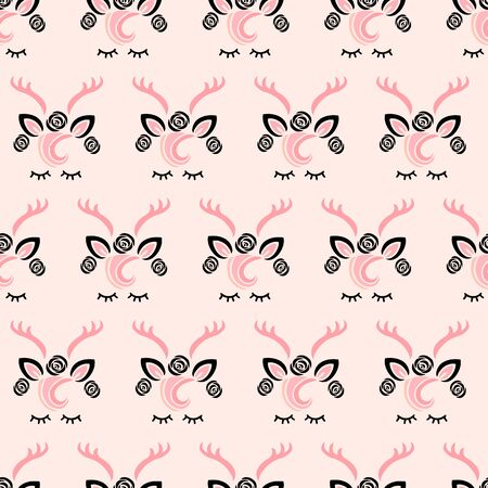 Pink seamless pattern with cute deer. Vector illustration.